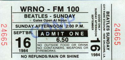 Beatles '84 Ticket