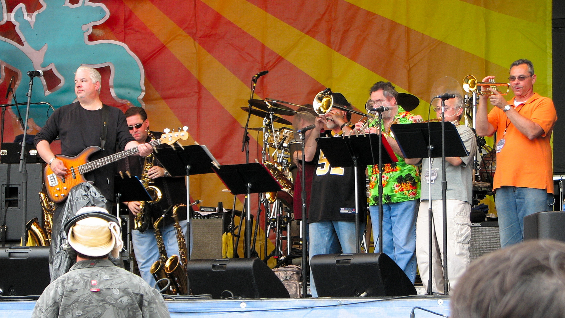 Chris Cambell on bass with the Wiseguys horn section