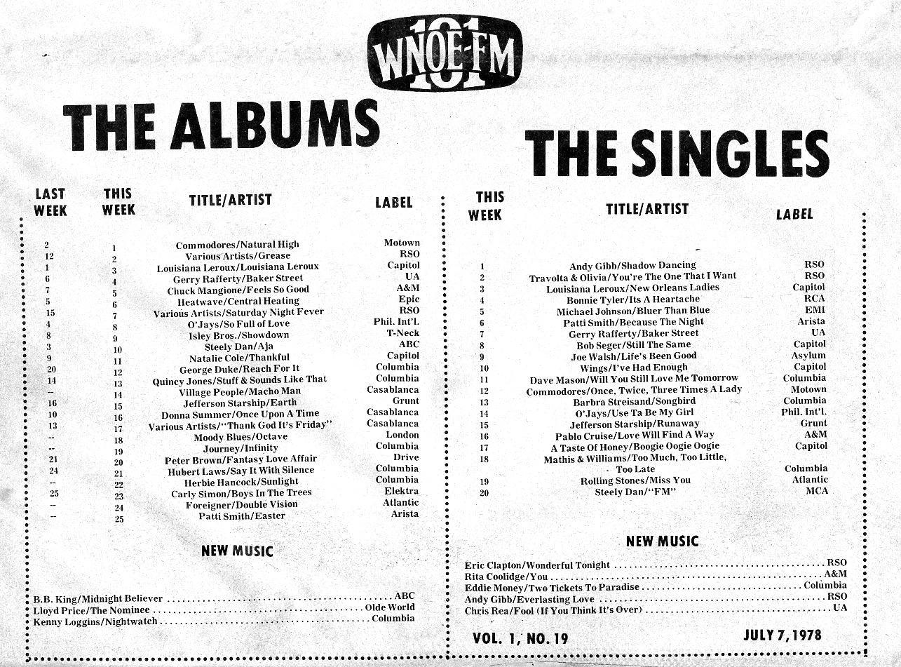 The Albums and Singles Charts for July 7, 1978