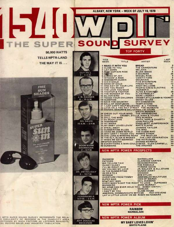 WPTR Super Sound Survey 1970